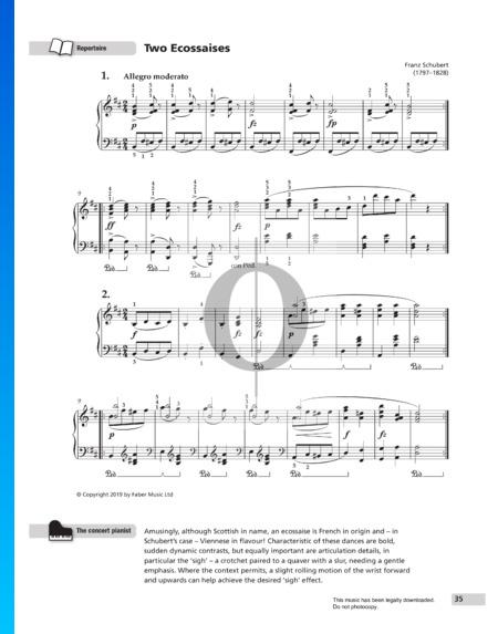 Zwei Ecossaisen in D-Dur, D. 783 Musik-Noten