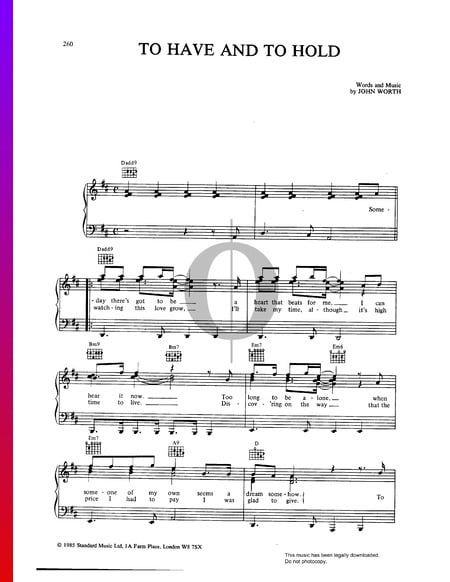 To Have And To Hold Sheet Music