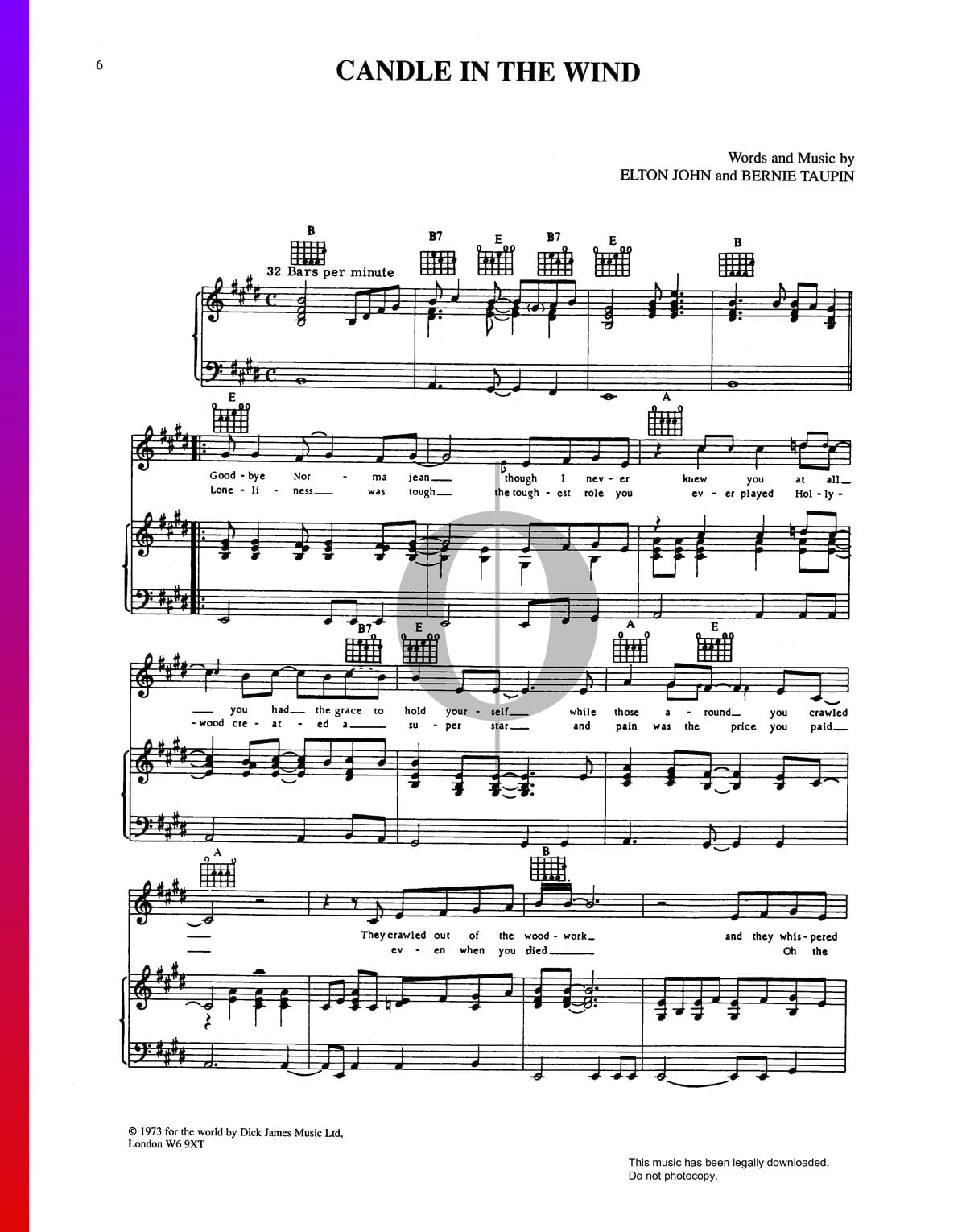 ▷ Candle In The Wind Sheet Music (Piano, Voice, Guitar