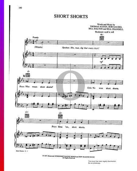 Short Shorts Musik-Noten