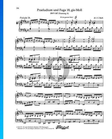 Preludio en sol sostenido menor, BWV 887 Partitura
