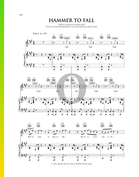 Hammer To Fall Sheet Music