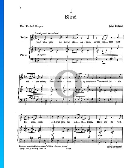 Two Songs: Blind, The Cost Sheet Music