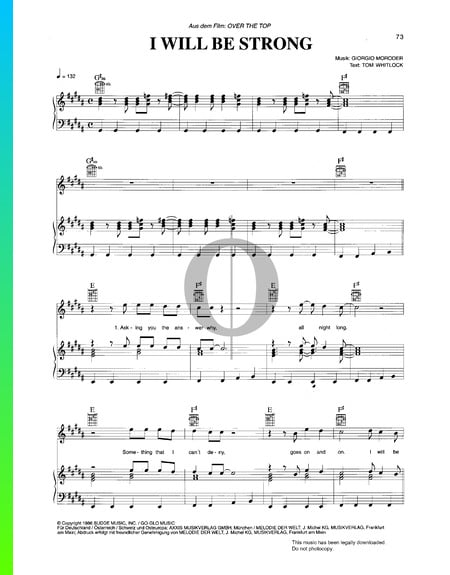 I Will Be Strong Sheet Music
