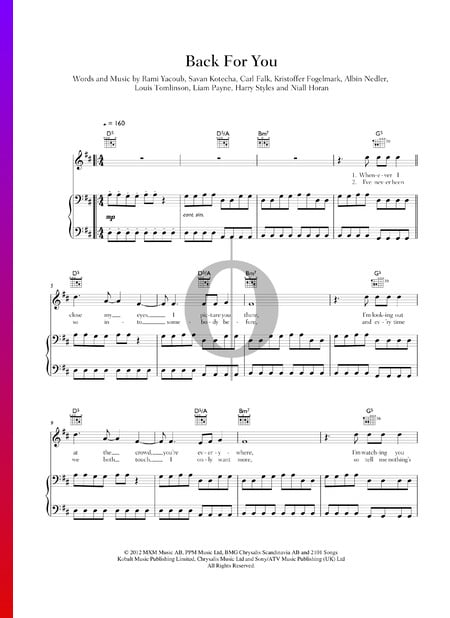 Back For You Sheet Music