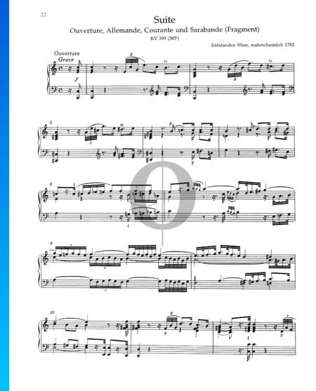 Suite C Major, KV 399 Sheet Music