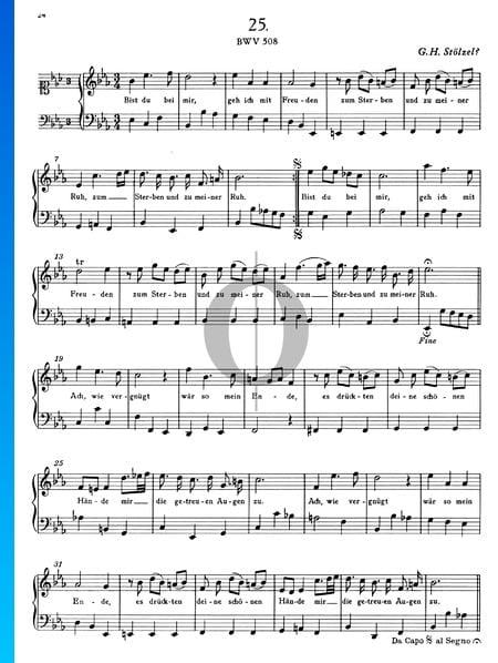 Aria Bist Du Bei Mir Bwv 508 Sheet Music Piano Voice