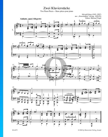 2 Piano Pieces, Smaastykker Sheet Music