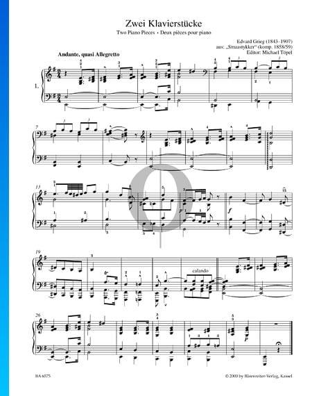 Zwei Klavierstücke, Smaastykker Musik-Noten