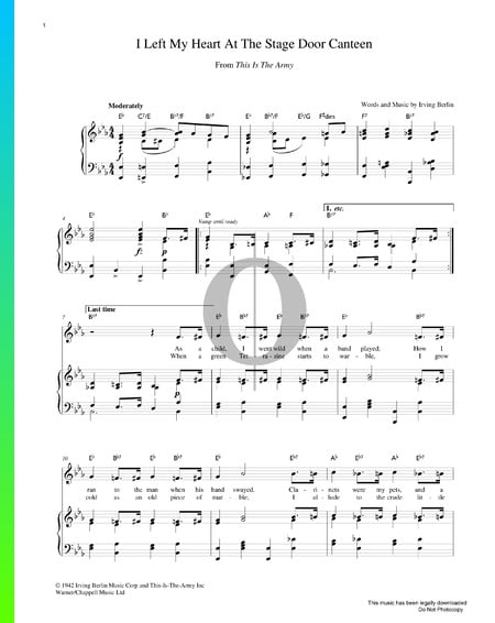 I Left My Heart At The Stage Door Canteen Sheet Music
