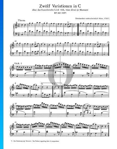 Twelve Variations in C-Major, KV 265 (300e) Sheet Music