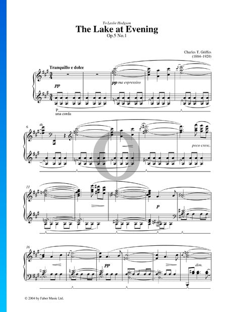The Lake At Evening, Op. 5 Nr. 1 Musik-Noten