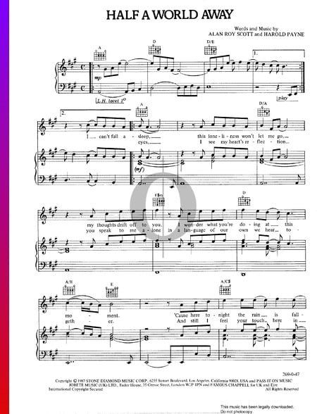 Half A World Away Sheet Music