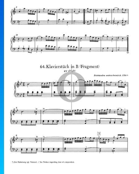 Piano Piece in B Major, KV 9b (5b): Fragment Sheet Music