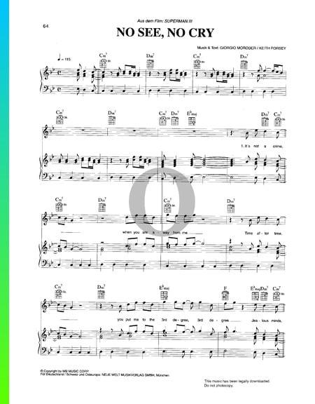 No See, No Cry Musik-Noten