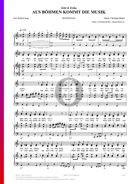 Aus Böhmen kommt die Musik Sheet Music