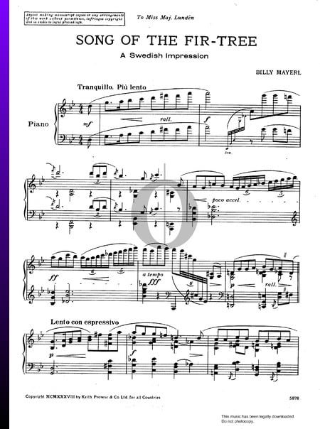 Song Of The Fir-Tree Sheet Music