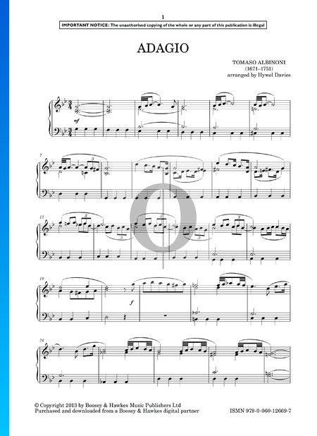 Adagio in G Minor (Giazotto) Sheet Music