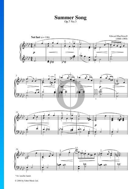 Summer Song, Op. 7 No. 3 Sheet Music