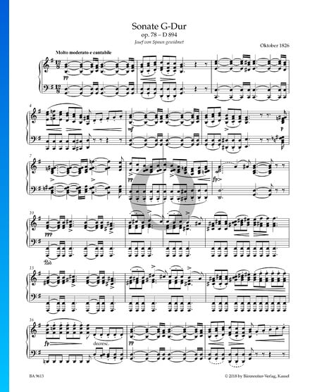 Sonata in G Major, Op. 78, D894: 1. Molto moderato e cantabile Sheet Music