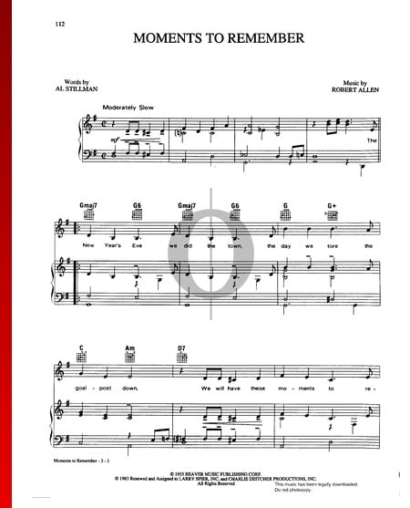 Moments To Remember Sheet Music