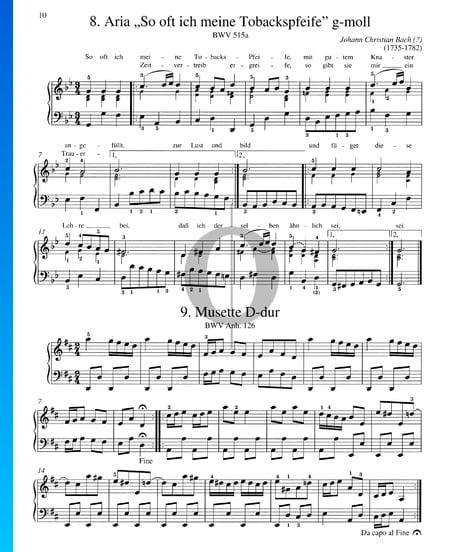 Aria en Sol mineur, BWV 515a Partition