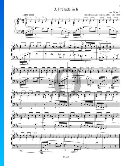 Prélude en Si mineur, Op. 28 No. 6 Partition