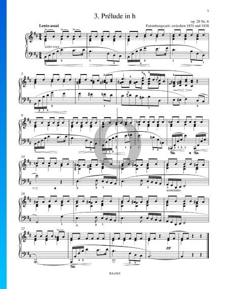 Preludio en si menor, Op. 28 n.º 6 Partitura