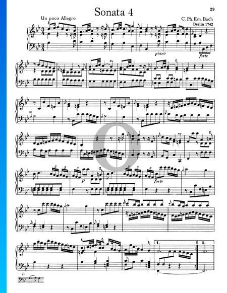 Sonata No. 4, Wq 49: 1.  Un poco Allegro Sheet Music