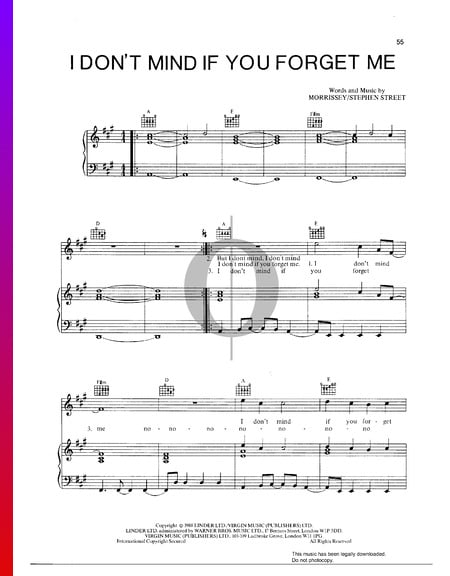 I Don't Mind If You Forget Me Sheet Music