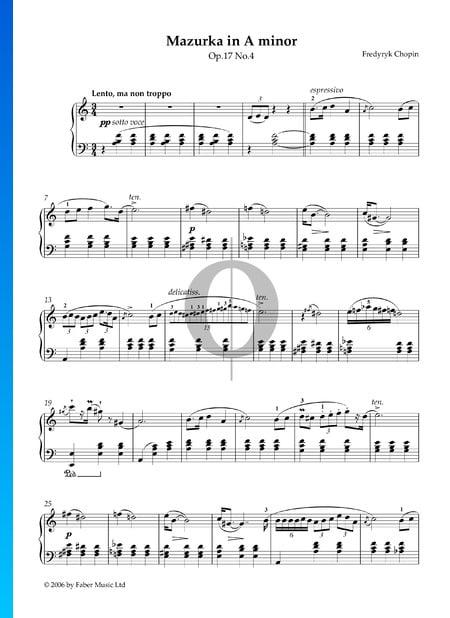 Mazurka in A Minor, Op. 17 No. 4 Sheet Music