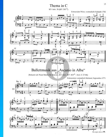 Ascanio in Alba: 9 Pieces For Piano, KV Anh. 207 / KV6: Anh. C 27.06 Sheet Music