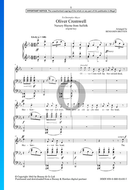 Oliver Cromwell Sheet Music