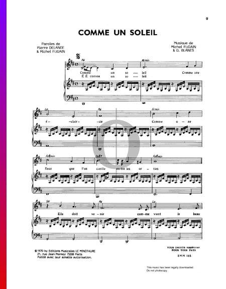 Comme Un Soleil Sheet Music