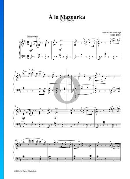 A La Mazourka, Op. 41 Nr. 3b Musik-Noten