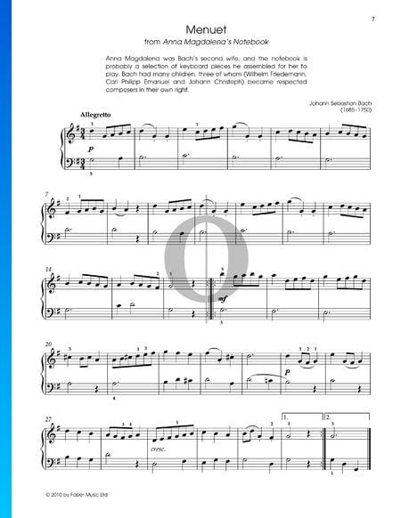 Minueto en sol mayor, BWV Anh. 114 Partitura