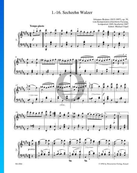 Seize Valses, Op. 39 No. 1 Partition