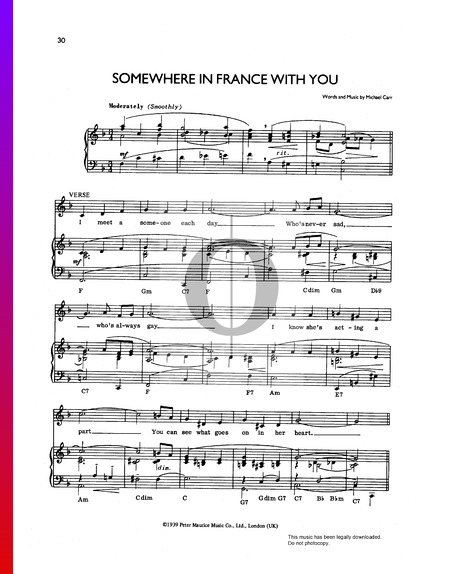 Somewhere In France With You Musik-Noten
