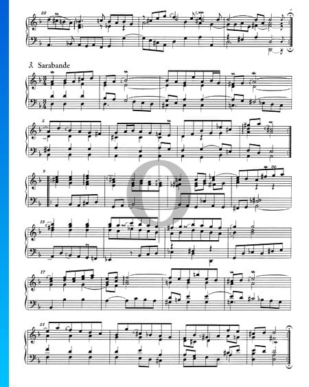 French Suite No. 1 D Minor, BWV 812: 3. Sarabande Sheet Music