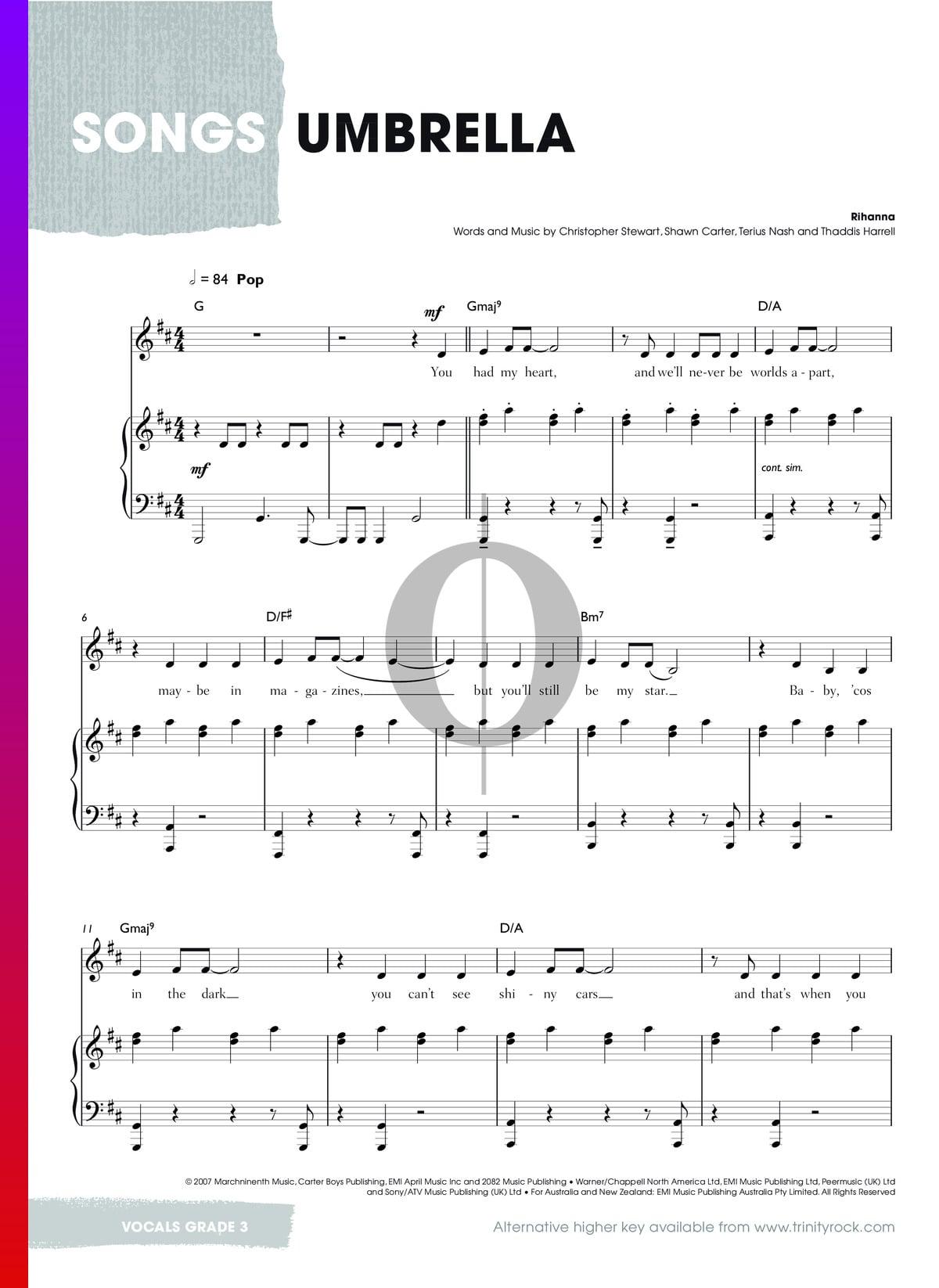 ▷ Umbrella Noten Klavier, Gesang, Gitarre   PDF Download ...