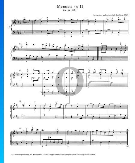 Menuett in D-Dur, KV 94 (73h) Musik-Noten