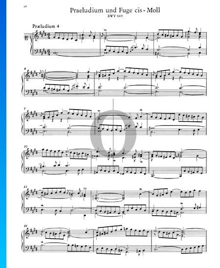 Preludio 4 en do sostenido menor, BWV 849 Partitura