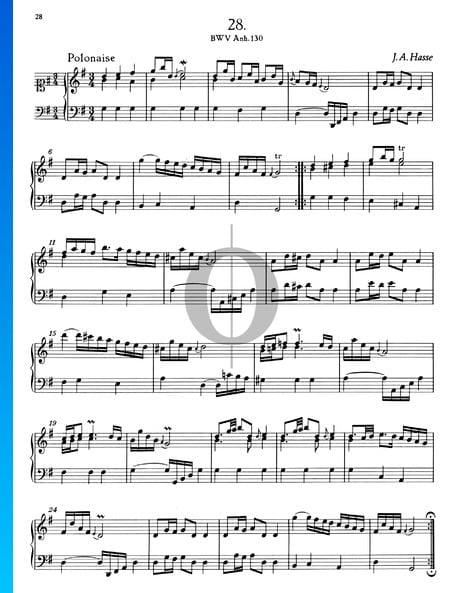 Polonaise en Sol Majeur, BWV Anh. 130 Partition