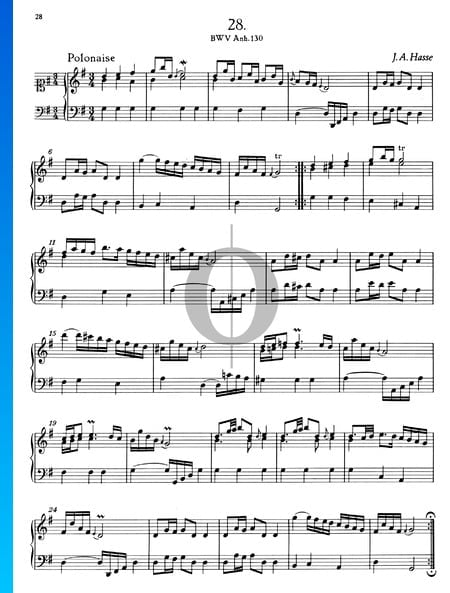 Polonaise G-Dur, BWV Anh. 130 Musik-Noten