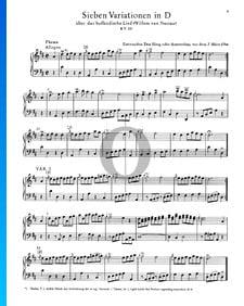 Sept Variations en Ré Majeur, KV 25