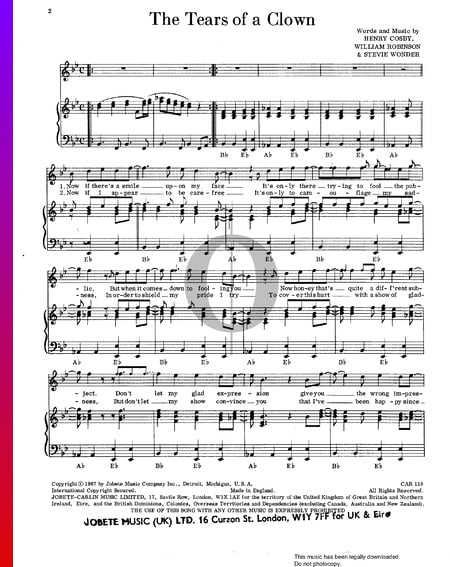 Tears Of A Clown Sheet Music
