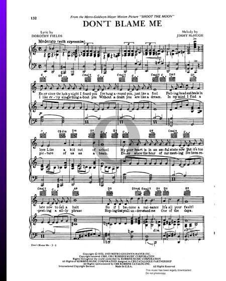 Don't Blame Me Musik-Noten