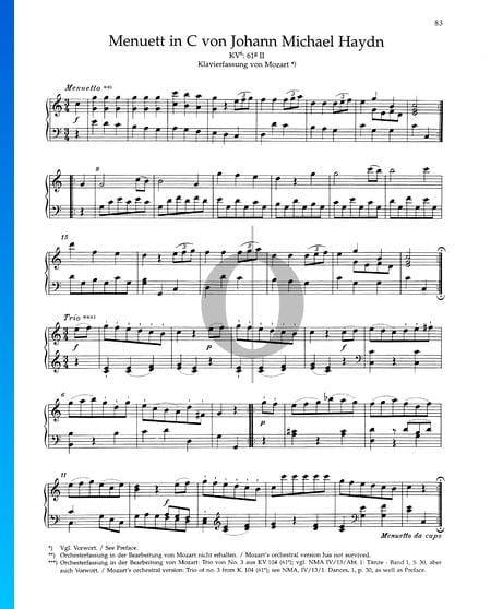 Menuett C-Dur, KV 61 II Musik-Noten