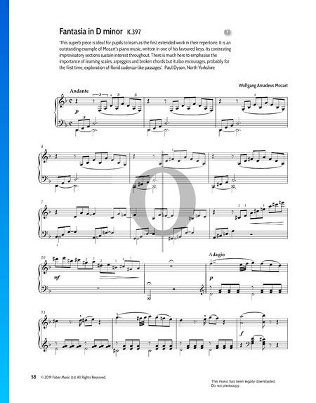 Fantasie d-Moll, KV 397 (385g) Musik-Noten