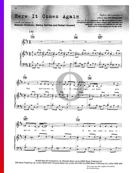 Here It Comes Again Sheet Music